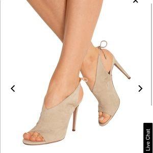 Aquazurra ami suede heel sandals tie back 39.5 M